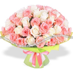 Cupid - bouquet of cream and pink roses