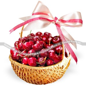 Ripe berry - a basket of cherries