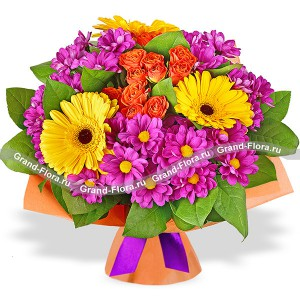 Rendezvous in Rio - a bouquet of chrysanthemums and gerberas