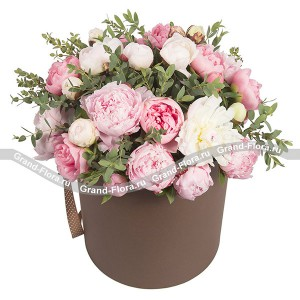 Flower temptation - a box with a pink and white peonies and herbs